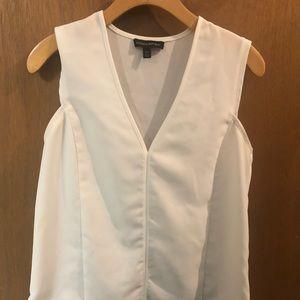 Banana Republic white sleeveless work shirt